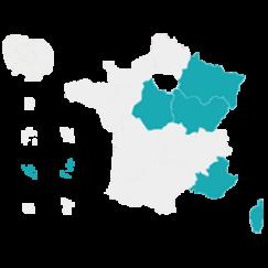 Carte de la France avec les régions de la vague C colorées en bleu clair