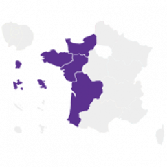 Carte de la France avec les régions concernées par la vague B colorées en violet
