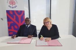 Professeur Lamine Gueye et Nelly Dupin