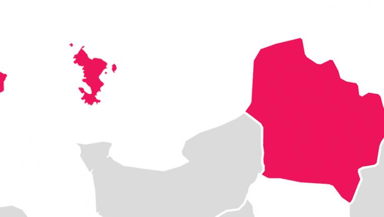 Carte de la France avec les régions de la vague E colorées en rose