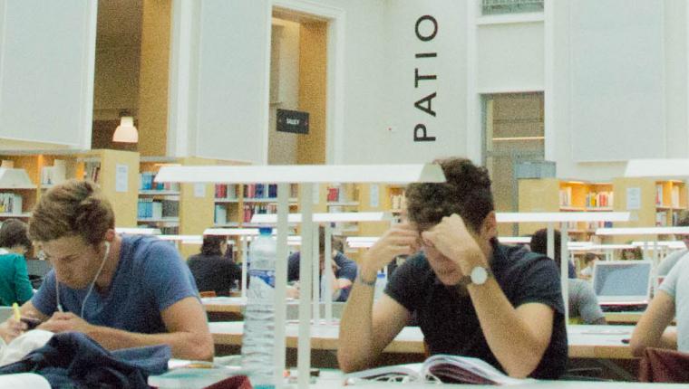 Étudiants travaillant dans une bibliothèque