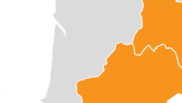 Carte de france des régions concernées par la vague A